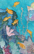 Gold Tapestries - Textiles Posters - Underwater Splendor II Poster by Denise Hoag