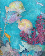 Aquatic Tapestries - Textiles Framed Prints - Underwater Splendor III Framed Print by Denise Hoag