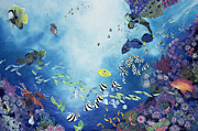 Fish Swimming Prints - Underwater World III Print by Odile Kidd