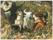 Make Believe Painting Posters - Undine and the Wood Demon Poster by Daniel Maclise