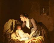 Care Painting Prints - Undressing the Baby Print by Meyer von Bremen