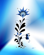 Linda D Seacord Framed Prints - Une fleur tribale bleue Framed Print by Linda Seacord