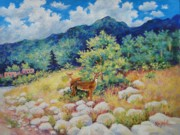 Landscape With Mountains Framed Prints - Unexpected Encounter Framed Print by Carol Reynolds