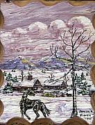 Snow Scene Paintings - Unexpected Guest II by Phyllis Mae Richardson Fisher