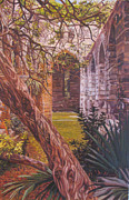 Historic Site Paintings - Unfinished Church Interior Trees by Otto Trott