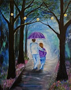 Lighted Pathway Prints - Unforgetable Night Print by Leslie Allen