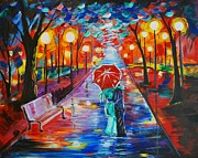 Rainy Street Painting Originals - Unforgettable Kiss by Leslie Allen