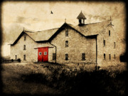 Red Doors Prints - UNI Barn Print by Julie Hamilton