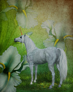 Unicorns Posters - Unicorn And Lilies Poster by Smilin Eyes  Treasures