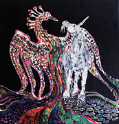 Dark Tapestries - Textiles Prints - Unicorn and Phoenix Merge Paths Print by Carol Law Conklin