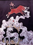Fairy Tale Tapestries - Textiles Posters - Unicorn and Red Bull Poster by Carol  Law Conklin