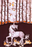 Magical Tapestries - Textiles Framed Prints - Unicorn Below Trees in Autumn Framed Print by Carol  Law Conklin