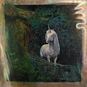 Unicorn Paintings - Unicorn By Cave by Nan  Thibert