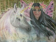 Extinct And Mythical Pastels Originals - Unicorn Faery Mother by Coral Lee