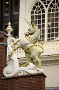 Unicorns Posters - Unicorn Figure On The Old State House Poster by Tim Laman