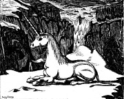 Corey Drawings - Unicorn in the Mountains by Corey Finney