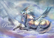 Unicorn Posters - Unicorn Of Peace Card Poster by Carol Cavalaris