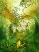 Fantasy Art Giclee Posters - Unicorn Of The Forest  Poster by Carol Cavalaris