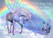 Fantasy Art Mixed Media Posters - Unicorn Of The Rainbow Card Poster by Carol Cavalaris