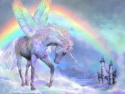 Fantasy Art Giclee Posters - Unicorn Of The Rainbow Poster by Carol Cavalaris