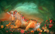 Fantasy Art Mixed Media Posters - Unicorn Of The Roses Poster by Carol Cavalaris