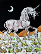 Moon Tapestries - Textiles Prints - Unicorn Over Flower Field Print by Carol  Law Conklin