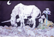 Mystical Tapestries - Textiles Prints - Unicorn Pauses Print by Carol  Law Conklin