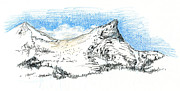 Storm Clouds Drawings Prints - Unicorn Peak in September Print by Logan Parsons