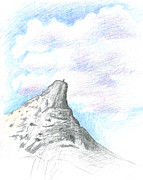 Yosemite Drawings - Unicorn Peak by Logan Parsons