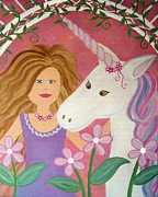 Nursery Paintings - Unicorn Princess by Samantha Shirley