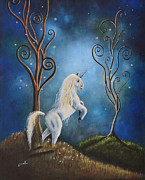 Horses Posters Painting Posters - Unicorn print by Shawna Erback - Twilight Poster by Shawna Erback