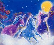 Extinct And Mythical Pastels Originals - Unicorn Races by Linda Crockett