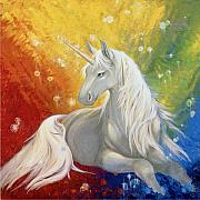 Unicorns Posters - Unicorn Rainbow Poster by Silvia  Duran