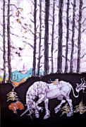 Fairy Tale Tapestries - Textiles Posters - Unicorn Rests in the Forest with Fox and Bird Poster by Carol Law Conklin