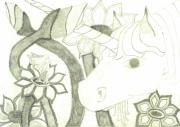 Faerie Drawings - Unicorn by Tallulah P