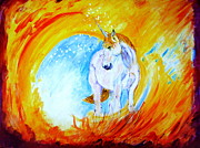 Kauai Artist Paintings - Unicorn by Tamara Tavernier