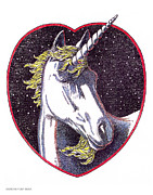 Gordon Punt Prints - Unicorn-Valentines-Drawing Print by Gordon Punt