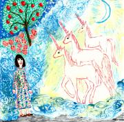 Magic Ceramics Posters - Unicorns come home Poster by Sushila Burgess