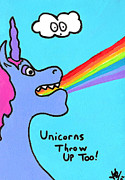 Extinct And Mythical Drawings Prints - Unicorns Throw Up Too Print by Jera Sky