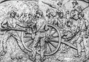 Cemetary Posters - Union Artillery Civil War Drawing Poster by Randy Steele