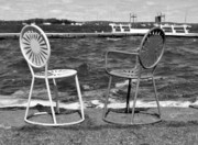 Union Terrace Framed Prints - Union Chairs in Black and White Framed Print by Melanie Guest