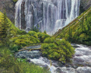Yellowstone Painting Originals - Union Falls by Steve Spencer