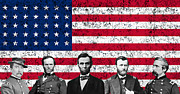 Us Flag Mixed Media Prints - Union Heroes and The American Flag Print by War Is Hell Store