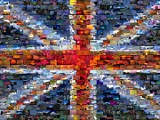 Uk Mixed Media - Union Jack Flag Mosaic by Paul Van Scott