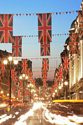 Long Street Prints - Union Jack Flags, Car Trails, Night, Regent Street Print by Laurie Noble