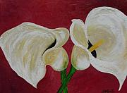 Calla Lily Paintings - Union of Two Calla Lily by Darlene Keeffe
