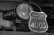 Union Pacific Framed Prints - Union Pacific Big Boy Headlight Black and White Framed Print by Ken Smith