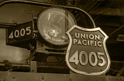 Union Pacific Prints - Union Pacific Big Boy Headlight Sepia Print by Ken Smith