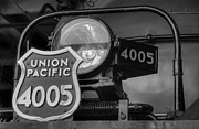 Union Pacific Framed Prints - Union Pacific Big Boy Headlight View 2 Black and White Framed Print by Ken Smith
