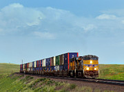 Boarder Prints - Union Pacific Container Train Bound for the Pacific Coast Print by Ken Smith